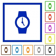 Watch flat color icons in square frames on white background - Watch flat framed icons