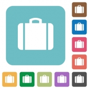 Suitcase white flat icons on color rounded square backgrounds - Suitcase rounded square flat icons