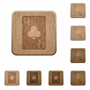 Queen of clubs card on rounded square carved wooden button styles - Queen of clubs card wooden buttons