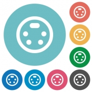 S-video connector flat white icons on round color backgrounds - S-video connector flat round icons