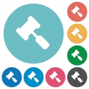 Judge hammer flat white icons on round color backgrounds - Judge hammer flat round icons