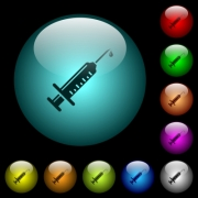 Syringe with drop icons in color illuminated spherical glass buttons on black background. Can be used to black or dark templates - Syringe with drop icons in color illuminated glass buttons