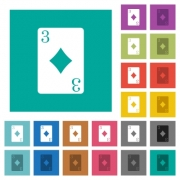Three of diamonds card multi colored flat icons on plain square backgrounds. Included white and darker icon variations for hover or active effects. - Three of diamonds card square flat multi colored icons
