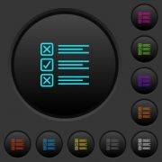 Questionnaire dark push buttons with vivid color icons on dark grey background - Questionnaire dark push buttons with color icons
