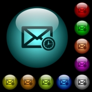 Queued mail icons in color illuminated spherical glass buttons on black background. Can be used to black or dark templates - Queued mail icons in color illuminated glass buttons
