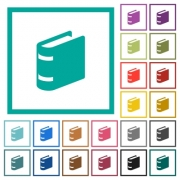 Single book flat color icons with quadrant frames on white background - Single book flat color icons with quadrant frames
