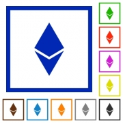 Ethereum digital cryptocurrency flat color icons in square frames on white background - Ethereum digital cryptocurrency flat framed icons