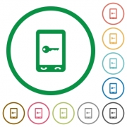 Mobile secure flat color icons in round outlines on white background - Mobile secure flat icons with outlines