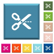 Cut out white icons on edged square buttons in various trendy colors - Cut out white icons on edged square buttons