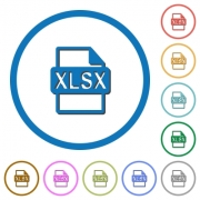 XLSX file format flat color vector icons with shadows in round outlines on white background - XLSX file format icons with shadows and outlines