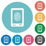 Mobile fingerprint identification flat white icons on round color backgrounds - Mobile fingerprint identification flat round icons