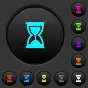 Hourglass dark push buttons with vivid color icons on dark grey background - Hourglass dark push buttons with color icons