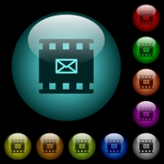 Send movie as email icons in color illuminated spherical glass buttons on black background. Can be used to black or dark templates - Send movie as email icons in color illuminated glass buttons