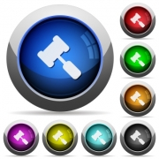Judge hammer icons in round glossy buttons with steel frames - Judge hammer round glossy buttons