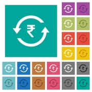 Rupee pay back multi colored flat icons on plain square backgrounds. Included white and darker icon variations for hover or active effects. - Rupee pay back square flat multi colored icons