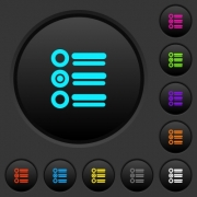 Radio group dark push buttons with vivid color icons on dark grey background - Radio group dark push buttons with color icons