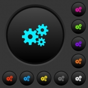 Gears dark push buttons with vivid color icons on dark grey background - Gears dark push buttons with color icons