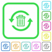 Undelete vivid colored flat icons in curved borders on white background - Undelete vivid colored flat icons