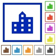 City silhouette flat color icons in square frames on white background - City silhouette flat framed icons