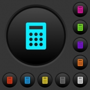 Calculator dark push buttons with vivid color icons on dark grey background - Calculator dark push buttons with color icons