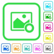 Authentic image vivid colored flat icons in curved borders on white background - Authentic image vivid colored flat icons