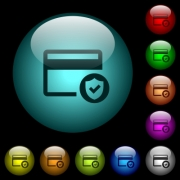 Safe credit card transaction icons in color illuminated spherical glass buttons on black background. Can be used to black or dark templates - Safe credit card transaction icons in color illuminated glass buttons