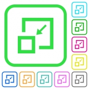 Shrink window vivid colored flat icons in curved borders on white background - Shrink window vivid colored flat icons