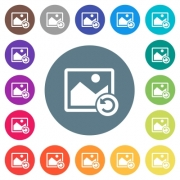 Image rotate left flat white icons on round color backgrounds. 17 background color variations are included. - Image rotate left flat white icons on round color backgrounds
