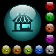 Store front icons in color illuminated spherical glass buttons on black background. Can be used to black or dark templates - Store front icons in color illuminated glass buttons