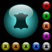Genuine leather symbol icons in color illuminated spherical glass buttons on black background. Can be used to black or dark templates - Genuine leather symbol icons in color illuminated glass buttons