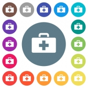 First aid kit flat white icons on round color backgrounds. 17 background color variations are included. - First aid kit flat white icons on round color backgrounds