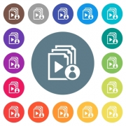 Playlist author flat white icons on round color backgrounds. 17 background color variations are included. - Playlist author flat white icons on round color backgrounds