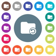 Undo directory last operation flat white icons on round color backgrounds. 17 background color variations are included. - Undo directory last operation flat white icons on round color backgrounds