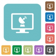 Remote desktop white flat icons on color rounded square backgrounds - Remote desktop rounded square flat icons