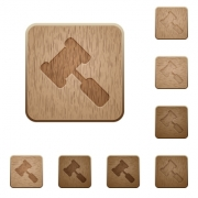 Judge hammer on rounded square carved wooden button styles - Judge hammer wooden buttons