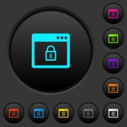 Lock application dark push buttons with vivid color icons on dark grey background - Lock application dark push buttons with color icons
