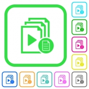 Playlist properties vivid colored flat icons in curved borders on white background - Playlist properties vivid colored flat icons