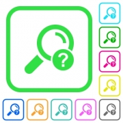 Unknown search vivid colored flat icons in curved borders on white background - Unknown search vivid colored flat icons