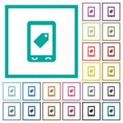 Mobile label flat color icons with quadrant frames on white background - Mobile label flat color icons with quadrant frames