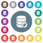 Database tag flat white icons on round color backgrounds. 17 background color variations are included. - Database tag flat white icons on round color backgrounds