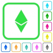 Ethereum digital cryptocurrency vivid colored flat icons in curved borders on white background - Ethereum digital cryptocurrency vivid colored flat icons