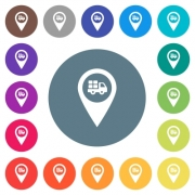 Transport service GPS map location flat white icons on round color backgrounds. 17 background color variations are included. - Transport service GPS map location flat white icons on round color backgrounds
