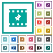 Pin movie flat color icons with quadrant frames on white background - Pin movie flat color icons with quadrant frames