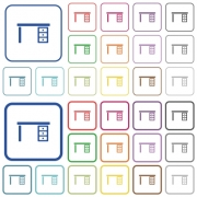 Drawer desk color flat icons in rounded square frames. Thin and thick versions included. - Drawer desk outlined flat color icons