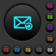 Undelete mail dark push buttons with vivid color icons on dark grey background - Undelete mail dark push buttons with color icons