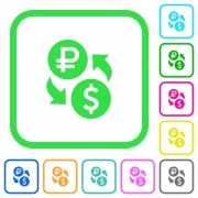 Ruble Dollar money exchange vivid colored flat icons in curved borders on white background - Ruble Dollar money exchange vivid colored flat icons