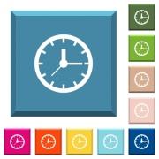 Analog clock white icons on edged square buttons in various trendy colors - Analog clock white icons on edged square buttons