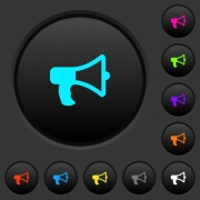 Megaphone dark push buttons with vivid color icons on dark grey background - Megaphone dark push buttons with color icons