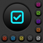 Checkbox dark push buttons with vivid color icons on dark grey background - Checkbox dark push buttons with color icons