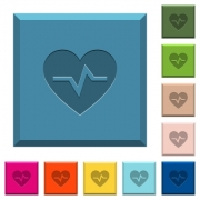 Heartbeat engraved icons on edged square buttons in various trendy colors - Heartbeat engraved icons on edged square buttons